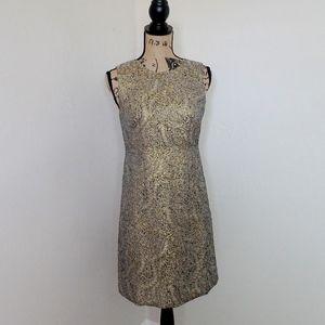 Ann Taylor Gold Brocade Dress Size 4P